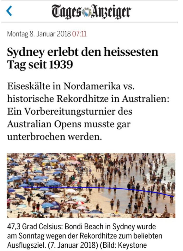 Australien Sydney: Frontseite des Tages-Anzeigers